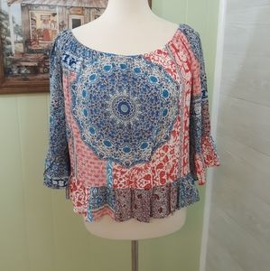 Sanctuary bell sleeve peasant top blouse large